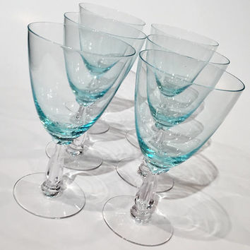 Incredible Fostoria Teal Blue Goblets with Clear Stem | Set of 8 Crystal Goblets| Fostoria Crystal Wine Glasses