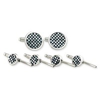 Men's David Donahue Cuff Links & Studs Set - Onyx / Mother Of Pearl