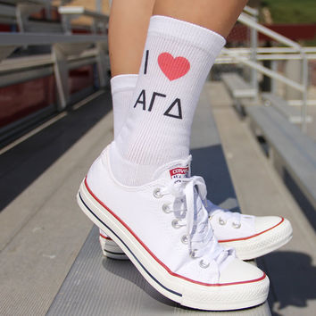 I LOVE My Sorority Ladies Crew Socks - I Heart My Sorority - Alpha Omicron Pi, Kappa Kappa Gamma, Delta Delta Delta Shown - Sorority Gifts