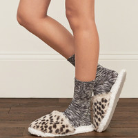 Patterned Faux Fur Scuff Slippers