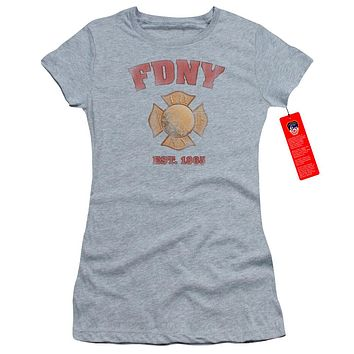 FDNY Juniors T-Shirt New York City Fire Dept Vintage Heather Tee