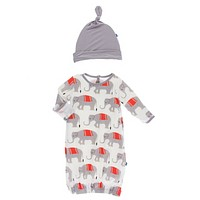 Kickee Pants India Collection Print Layette Gown & Single Knot Hat Set
