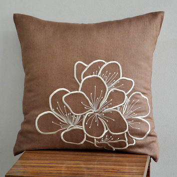 Hibiscus Throw Pillow Cover 18 x 18 Decorative Pillow by Kainkain