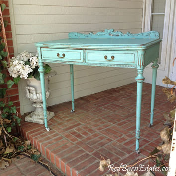 PAINTED DESK or Console Table Hand Painted Aqua Tourmaline The Shabby Chic Furniture Farmhouse Lady Writing Table