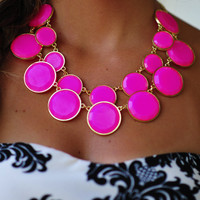 The Finishing Touch Necklace: Hot Pink | Hope's