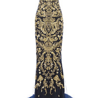 Strapless Fishtail Gown With Ornament Embroidery by Marchesa - Moda Operandi