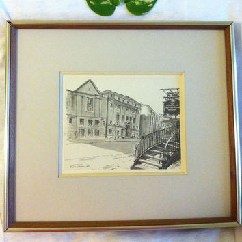 Canadian Lithograph of Old Montreal Building by Artist R.D. Wilson Copy of Original Charcoal Drawing by R.D. Wilson in 1964 Signed by Artist