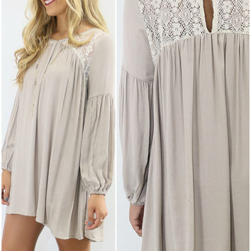 The Fairfield Taupe Pleated Peasant Dress With Peephole Back