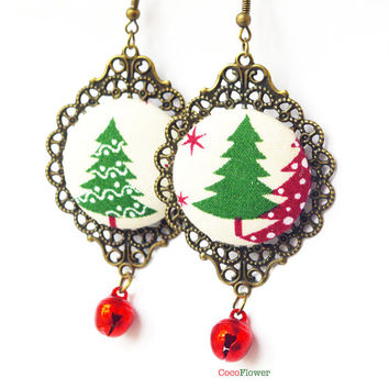 Christmas tree jingle bells earrings red green fabric jewelry