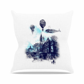 "Frederic Levy-Hadida ""Strange Town"" Blue City Throw Pillow"