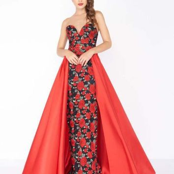 Mac Duggal - 2037R Floral Embroidered Sweetheart Dress with Overskirt