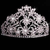 Pageant Bridal Wedding Prom Rhinestone Crystal Flower Tiara Crown