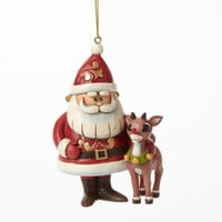 Enesco Jim Shore Rudolph Traditions Santa & Rudolph Hanging Orn. NIB 4041650