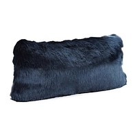 Steel Blue Mink Faux Fur Pillow