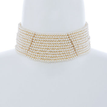 Downton Abbey Style Faux Pearl Layered Choker Necklace