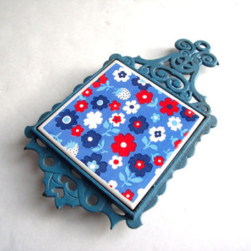 Mid Century Modern Blue Wrought Iron and Floral tile Trivet