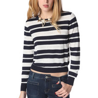 Navy blue stripe knit sweater