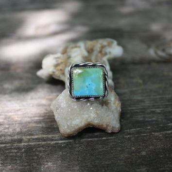 Natural Turquoise Mountain Square Turquoise Statement Ring Design Stamped Band size 6.5