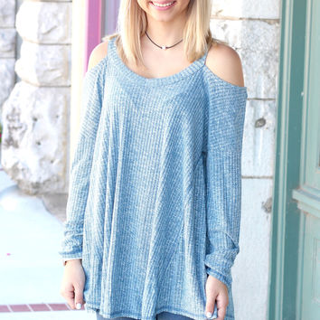 Ribbed Sweater Hi-Lo Cold Shoulder {Heather Teal}