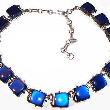 "Coro Blue Moonstone Necklace Signed Silver Metal Thermoset 17"" Vintage"