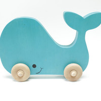 Blue Whale Push Toy - Eco-Friendly Children's Toy