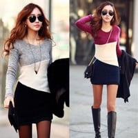 S-2XL Women Casual Long Sleeve Pullover Bodycon Knitwear Jumper Sweater Dress