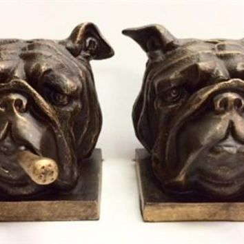Iron Bulldog with Cigar Bookends