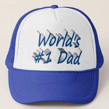 World's #1 Dad 3D Hat, Sea Blue Trucker Hat