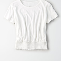 AE Smocked Hem Crop Top, Natural White