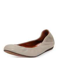Scrunched Leather Ballerina Flat, Light Gray - Lanvin