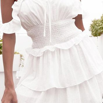 Early Riser Short Sleeve Off The Shoulder Ruffle Smocked Waist Tiered A Line Flare Casual Mini Dress - 2 Colors Available