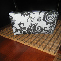 Large Cosmetic Makeup Bag / Pencil Bag - Bridesmaid Gifts - Damask Fabric