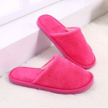 Women Men Soft Slippers Couple Indoor Plush Warm Skid Resistance Winter Solid EVA New Bedroom Home Antiskid Flat Shoes