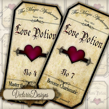INSTANT DOWNLOAD Magic Love Potion Apothecary Bottle Jar Labels Tags Halloween instant download printable  images digital collage sheet 209
