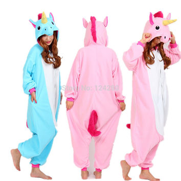 Nico the Unicorn Adult Pink Blue Unicorn Onesuit costume Women Men animal pajamas pyjama Jumpsuit party halloween cosplay costume