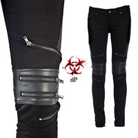 TRIPP GOTHIC MOTO BIKER JEANS SKINNY ZIPPER PUNK GOTH VEGI LEATHER PANTS SD7992M