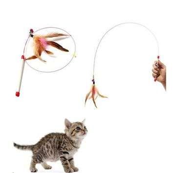 Flying Bell Favorite Cats Toy For Pet Products Random Colored Feathers Funny Cats Wire Rods