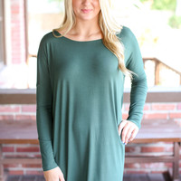 Piko Tunic Dress Long Sleeve- Green