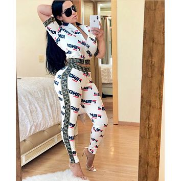 Fendi Fashion New More Letter Print Top And Pants Sports Leisure Two Piece Suit Women White