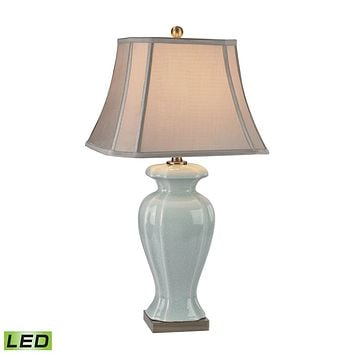 Celadon LED Table Lamp in Glazed Green Ceramic With Antique Brass Accents