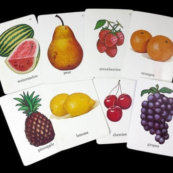 Vintage Fruit Flashcards, Set of 8, 1960s Food Illustrated Picture Word Flash Cards, Retro Kitchen Fruit Decor, Paper Epehmera Scrapbooking