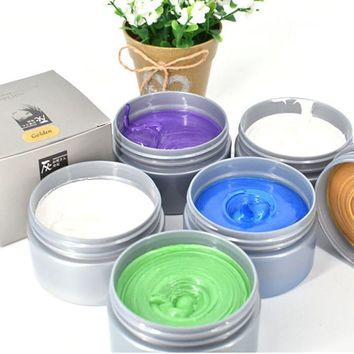 Color Hair Wax Styling Temporary Hair Dye Disposable Fashion Molding Coloring Mud Cream Hair Coloring Modeling Tools