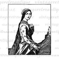 Printable Graphic Medieval Damsel Woman Lady Image Download Digital Vintage Clip Art Jpg Png Eps  HQ 300dpi No.2826