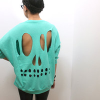 Mint Skull Cut-Out Sweatshirt - L/XL