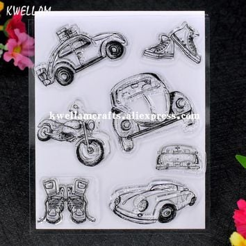 Cute Motorcycle Car Scrapbook DIY photo cards account rubber stamp clear stamp transparent stamp 11x13cm 7062217
