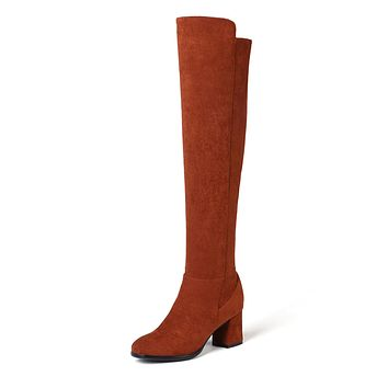 Suede Tall Boots Chunky Heel Winter Shoes for Woman 8047