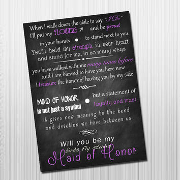 Will you be my maid of honor? DIY Printable Card