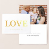 Modern Minimalist Love Typography | Holiday Photo Foil Card