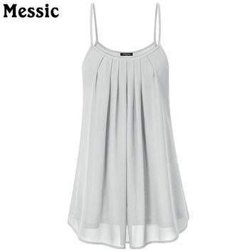 Casual Tunic Pleated Chiffon Tank Top Sleeveless Double Layer Women Camisole Summer Ruched Long Ladies Vest