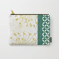 Boho dandelion green and yellow Carry-All Pouch by Jennifer Rizzo Design Company